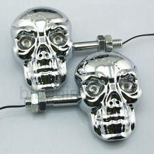 2x 4 LED Crâne Skull Clignotant Indicateur Feu Lampe Ambre Chrome Universel Moto
