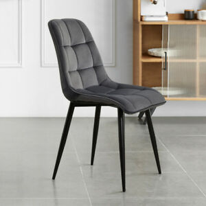 Pack of 2 4 6 Grey Velvet Dining Chairs Square Soft Padded Seat Back Luxury Top