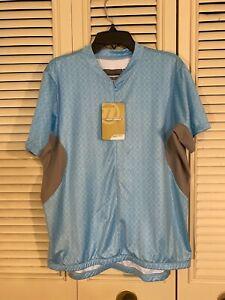 NWT Womens Novara Blue Cycling Jersey Zippered Shirt Back Pockets Size XL NEW!