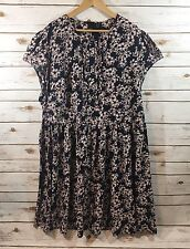 Asos Curve Womens Plus Size 22 US Navy Blue Floral Print Babydoll Dress