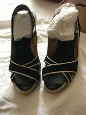 Auth Christian Louboutin Piluca wedge black with white trim with box size 41
