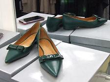 Cecille Nuevo Y En Caja Uk 4 Verde Oscuro Plana Mocasines Cuero Mocasines Tribunal Zapatos EU 37