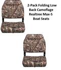 2-Pack Low Back Folding Boat Seat Camo Padded Vinyl Jonboat Fishing Realtree 5
