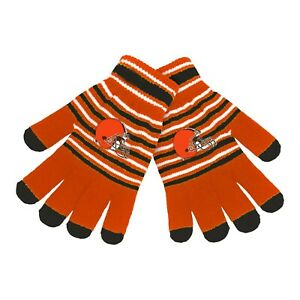 Cleveland Browns Gloves Acrylic Stripe Knit Sports Logo Winter NEW Texting Tips
