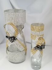 2 New CBH Bling Bling Centerpiece Handmade  Glass Vases SHIPPED IN US ONLY