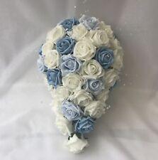Wedding Flowers Ivory Rose blue Bouquet Bride Bridesmaid posy  Flower-Girl Wand