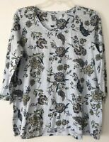NEW J. JILL M 3/4 Slv Shirred-Back Knit Top Floral Cotton/Modal Blue/Purple