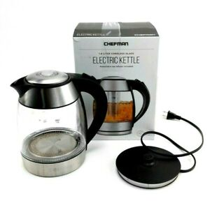 Chefman Electric Cordless Glass Kettle LED Lights 1.8 Ltr Missing Tea Infuser