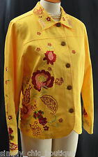 Coldwater Creek Mustard jean jacket floral embroidered spring coat jacket S NEW