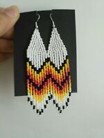 white beaded earrings fringe earrings seed bead earrings white earrings beaded