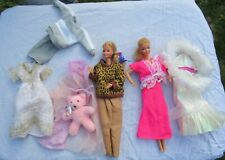 Vintage Barbie 1980's 2 dolls and clothes - well loved