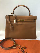 Auth HERMES Natural Gold Chamonix 32 cm Kelly Retourne GHW with Strap