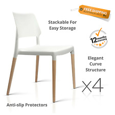 Set of 4 White Dining Chair Stackable Retro Modern Seat Beech Wood Leg Cafe Home