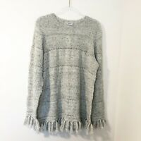 Avenue Flecked Knit Fringe Hem Sweater Womens Size 14/16 NWT