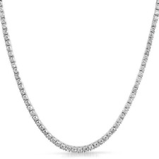 3mm VVS Lab Diamond 1 Row White Gold Plated Tennis Chain Solid Steel Necklace