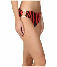 Michael Kors Bikini Bottom Sz S Chili Red Brown Logo Ring Swim Bottoms MM87808