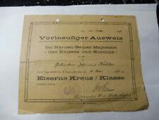Urkunde Eisernes Kreuz 2. Klasse 1914 Fussartillerie Btl. 20 Hamburg Altona