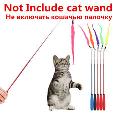 Pet Kitten Cat Teaser Wand Rod Chase Toys Replacement Refill Plush With Bell