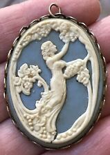 Vintage ART NOUVEAU Look Wedgewood Blue CAMEO Pendant LOVELY LADY PICKING GRAPES