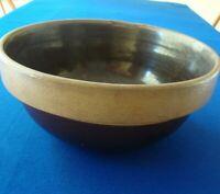 Vintage Brown & Tan Pottery Batter Mixing Bowl