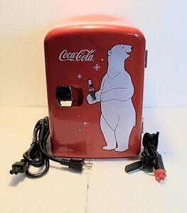 Coca Cola Coke Mini Fridge Koolatron KWC-4 Hot Cold Counter Top 6 Can Polar Bear