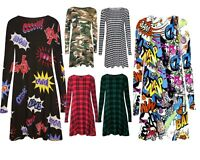 Womens Ladies Printed Long Sleeve Midi A-line Skater Swing Jersey Flared Dress