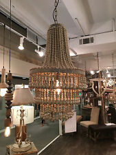FORTY WEST STONELEIGH LARGE ANTHROPOLOGIE BOHO STYLE  BEADED WOOD CHANDELIER