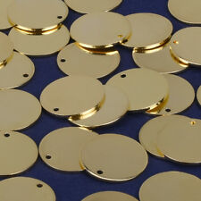 """11/16"""" Round Stamping Blanks with Hole Circles Charm Brass Findings 10pcs 102273"""