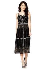 Ladies 1920s Gatsby Charleston Flapper Sequin Beaded Black Cocktail Dress UK 8