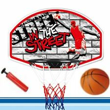 WALL MOUNTED BASKETBALL HOOP NET RING OUTDOOR HANGING BACKBOARD BALL & PUMP SET