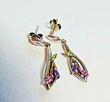Sterling Silver Peridot, Amethyst & Pink Topaz Drop Earrings