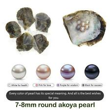 20Pcs Akoya Round Cultured Pearl in Oyster 6-8mm White Pink Purple Dyed Black