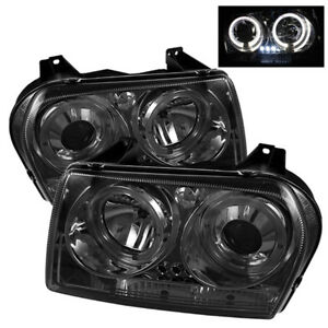 Fit Chrysler 05-08 300 Smoke Dual Halo LED Projector Headlights Limited/Touring