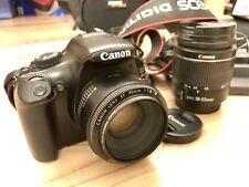 Canon EOS 1100D DSLR ensemble + EF 50 mm f/1.8 & 18-55 M Lens + Speedlite 430EX II