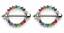 Nipple Ring Bars Circle of Love Rainbow Body Jewelry Pair 14 gauge HO918