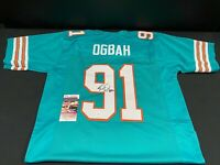 MIAMI DOLPHINS EMMANUEL OGBAH SIGNED CUSTOM THROWBACK JERSEY JSA WITNESS COA NEW