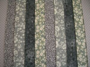 """10 JELLY ROLL STRIPS GREY MULTI 44"""" X 2.5""""  100% COTTON PATCHWORK/QUILT REY"""