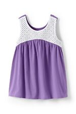 Lands' End Girls L 14 Lavender Cotton Knit & White Eyelet Tank Top Tee Sleevless