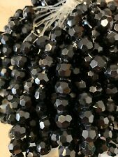 10 mm Jet Black Crystal Glass Beads As Pictured. 5 Strands 17 Beads Str 85 Beads