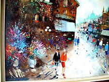 """Original impresionista sraßenbild """"paris"""" óleo sobre lienzo sign. R. OTI"""