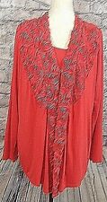 Ravel Womens Top Blouse  Size XL Twin Set? Red Dressy Stretchy   (w-334)