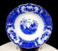 "UPPER HANLEY POTTERIES LTD ENGLAND GEISHA PATTERN FLOW BLUE 9 1/2"" BOWL 1900-"
