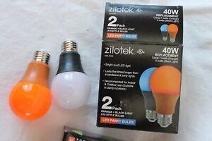 LOT OF 10 ZILOTEK 7W LED Black LIGHT ORANGE BULB NON-DIMMABLE E26 BASE A19 Size