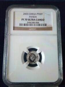 2003 NGC China Platinum Panda PF70, 50 Yuan | Ultra Cameo