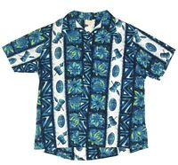 UI MAIKAI BLUE PINEAPPLE HAWAIIAN TIKI FACE MASK DRUM Vintage Shirt XL/2XL - 367