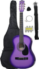 NEW Crescent beginner PURPLE Acoustic Guitar+GIGBAG+STRAP+TUNER+LESSON