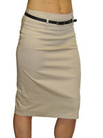 NEW (2347) Trend Stretch Pencil Skirt With Sheen + FREE belt beige size 8-18