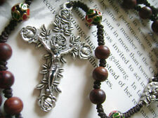 Rare Rosewood Sandalwood Beads Rosary & Hanmad Coton Thread Cross Not allergic