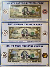 Lot Of 3 - Atb Enhanced $2 Bill Collection - Grand Canyon Hot Springs Mount Hood
