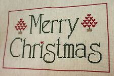Finished Completed Cross Stitch Natural Merry Christmas Xmas Heart Topiary Piece